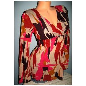 NEW $120 BCBG Stretch Wrap Print Top Shirt M